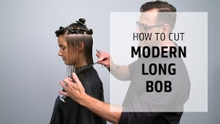 Cutting a modern long bob with a trendy fringe | How to Cut | Goldwell Education Plus