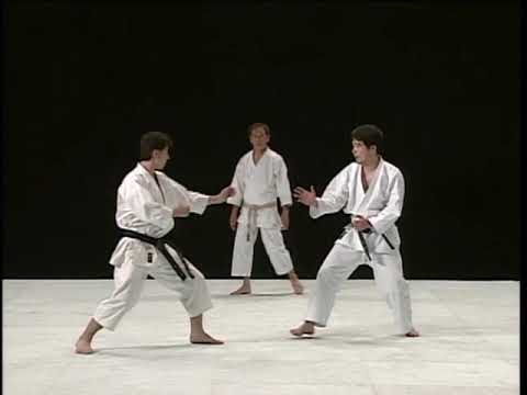 Jiyu-kumite training Yamamoto, Imamura, Naka