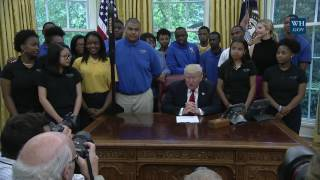 President Trump Is Visited by the Victory Christian Center School Model Rocket Team