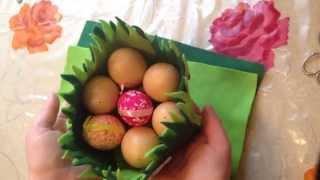 Корзинка из фетра для яиц, декорация на праздничный стол Пасхи