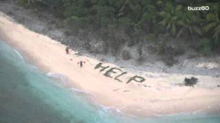 "Men Stranded on Desert Island Rescued After Writing ""Help"" in Sand"
