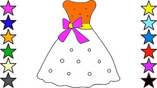Girls Dresses Drawing and Coloring for Kids | How to draw a wonderful dress