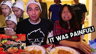 Nuclear Fire Noodle Challenge with my Mom! (2x Spicy Ramen)