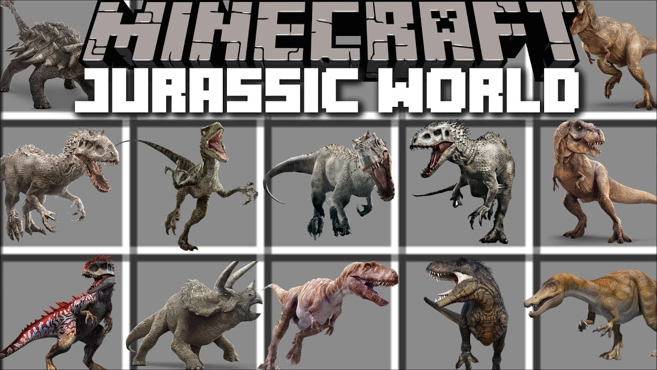 Minecraft JURASSIC WORLD MOD / FALLEN KINGDOM SAVE THE DINOSAURS FROM VOLCANO!! Minecraft