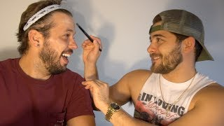BOYFRIEND DOES MY MAKEUP CHALLENGE!!