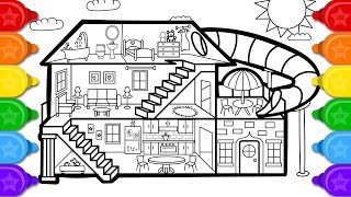 Glitter House Coloring and Drawing for kids | How to draw a glitter house coloring page