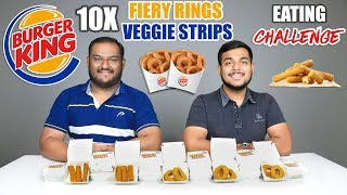 BURGER KING FIERY RINGS & VEGGIE STRIPS EATING CHALLENGE | Food Eating Competition | Food Challenge