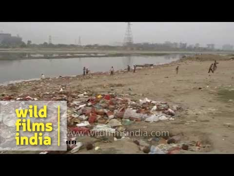 Garbage litters the banks of holy Yamuna River - Delhi