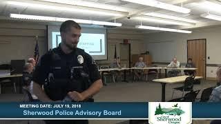 Sherwood Police Advisory Board - July 19, 2018