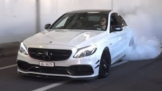 TUNED Mercedes C63 AMG in Monaco - Burnouts & LOUD Exhaust Sounds!
