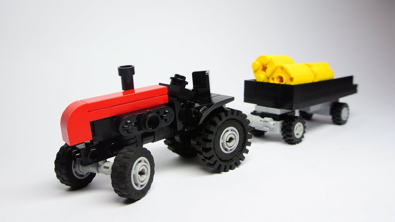 Tractor With Flatbed Wagon Small Lego Toy Youtube