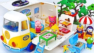 Baby shark, Pinkfong~! Let's take a Pororo Camping car to the woods! #PinkyPopTOY
