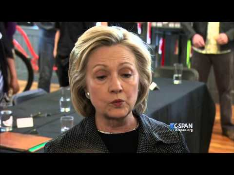 Hillary Clinton talks to media (C-SPAN)