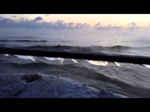 Chicago's Polar Vortex 2014 - Lake Michigan's Extreme Cold -17°F Steamy Sunrise