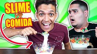 Fazendo COMIDA De SLIME!!! Aprenda Como Fazer DIY Comida de Slime vs Real DESAFIO