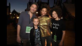 actress Thandie Newton and her husband Ol Parker and her daughters