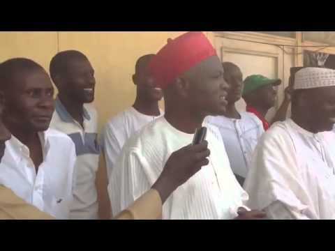 Prof Umar Farouk jibril addressing kano state athlete  to Eko national Festival