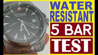 Water resistant 5 bar=5atm=50m test at home my Swiss Military Hanowa