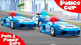 The Blue Police Car rescues Cars Friends - Service Vehicles. Cars & Trucks Cartoon for kids