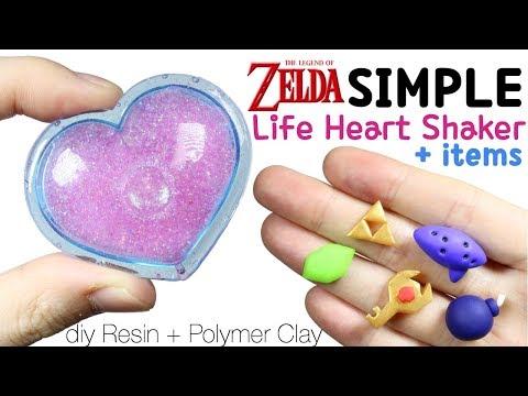 How to DIY Super Easy Legend of Zelda Life Heart Shaker + Game item Polymer Clay/Resin Tutorial