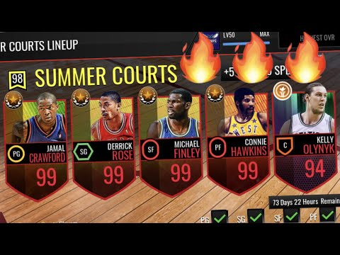 MAXED OUT SUMMER COURTS LINEUP GAMEPLAY FT. NEW 99 J CROSSOVER!! NBA Live Mobile