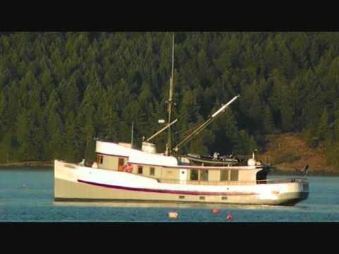 Fishing trawler converted to a cruiser anchored in for Commercial fishing boats for sale west coast