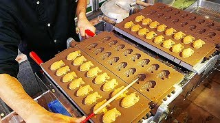 Japanese Street Food - TAIYAKI CAKE Red Bean Sweet Potato Japan
