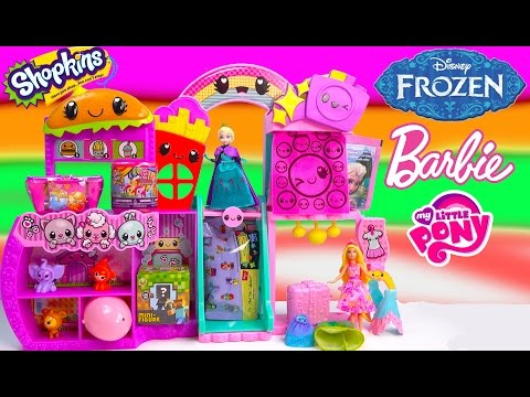 Queen Elsa Disney Frozen MALL Blind Bags Shopkins Fash'ems My Little Pony MLP Barbie Unboxing Video