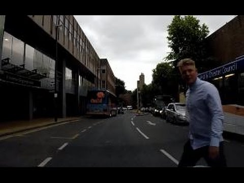 UK driving clips dozy pedestrian / Royal Mail lorry