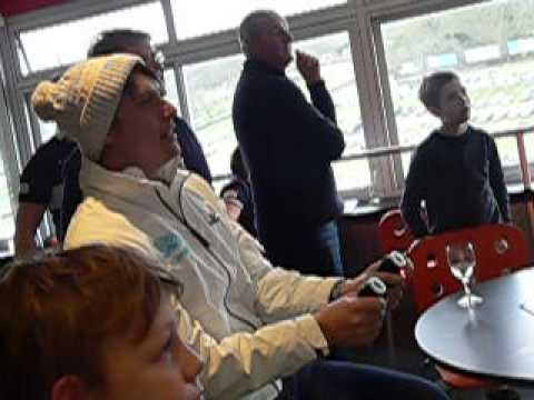 Andy Neate races on track while off track at Brands Hatch. On the Stopwatch Suite RaceSim