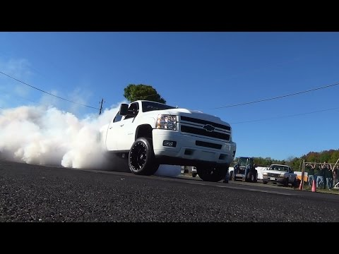 Truck burnout contest island dragway/Super show rigs 9-27-14