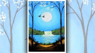 Moonlight Waterfall scenery drawing with oil pastels | Oil pastel drawing waterfall