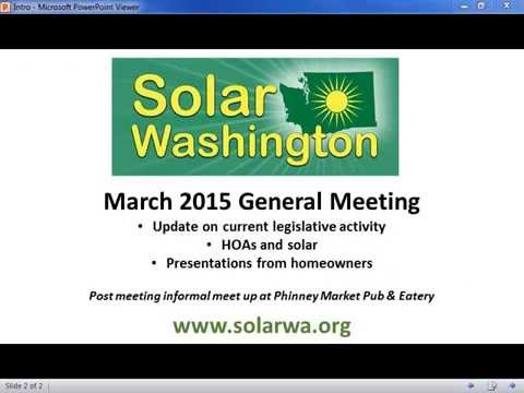 Solar Washington General Meeting March 4, 2015