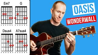 Oasis Wonderwall chords Acoustic Guitar tutorial Lesson How to Play Strumming