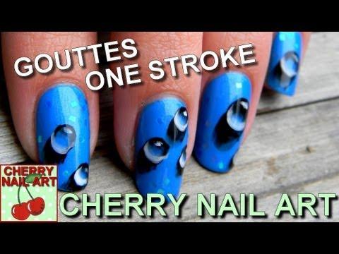 Nail art gouttes de rosée au one stroke