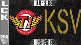 SKT vs KSV Highlights ALL GAMES | LCK Week 4 Spring 2018 W4D5 | SK Telecom T1 vs KSV Highlights