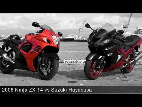 Kawasaki Ninja ZX-14 vs Suzuki Hayabusa - Motorcycle Review Video