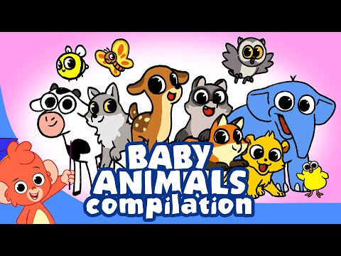 Learn Animals for Kids | Animal Babies Cartoon for children | Newborn Animal Cartoons