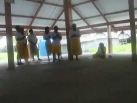 Kiribati: Marakei - Some local men sing us a welcome song