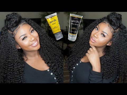 GOT2B GLUED Lace Frontal Wig Application   Feat. Aliexpress Virgo Curly Hair Review