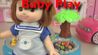 Baby doll pink car and fishing game toy play1