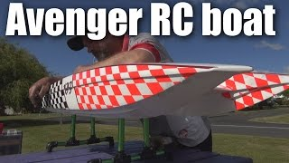Avenger gas-powered RC boat at Tokoroa