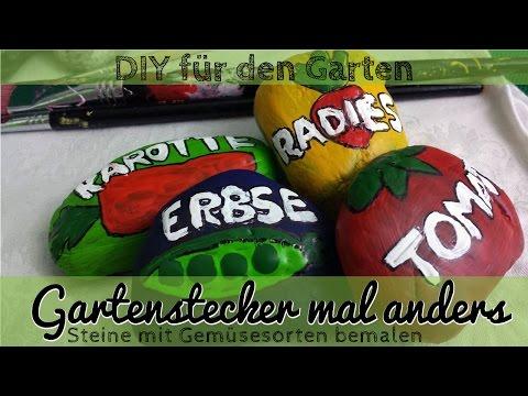DIY Bemalte Steine Als Gartenstecker Für Den Gemüsegarten - Gartendeko Selbst Machen