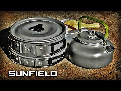 Полезные товары из Китая/Набор посуды для туризма и рыбалки Sunfield