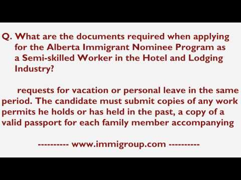 Documents required when applying for AINP as a Semi-skilled Worker in the Hotel and Lodging Industry