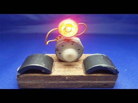Free energy  DC motor Generator with Light bulb thumbnail