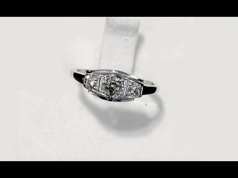 0.55 ct Diamond and 14 ct White Gold Trilogy Ring - Antique Circa 1930 A4797