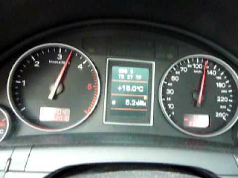 Audi A4. 1.9 TDI. 130PS. acceleration 50-150 Km/h. Tacho
