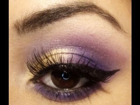 gold pink purple eyes with winged liner makeup tutorial