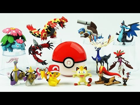 Pokemon Go! Monster Ball Surprise Toys, Pokemon XY Takara Capsule Toys, Pikachu, Xerneas, Yveltal
